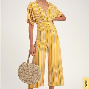 NWT Lulu's Yellow Stripped Jumpsuit XS